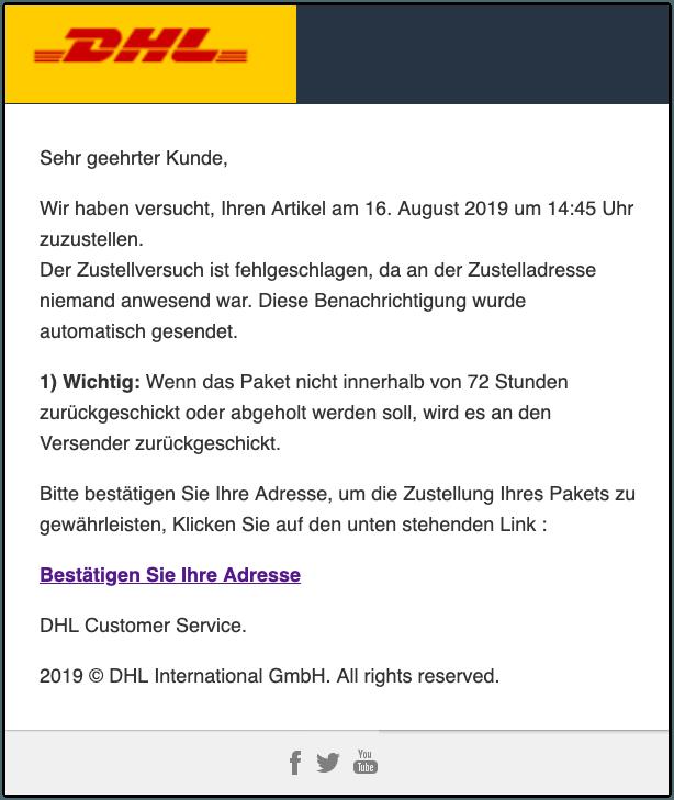 2019-08-19 DHL Spam-Mail Wichtig- unzustellbares Paket