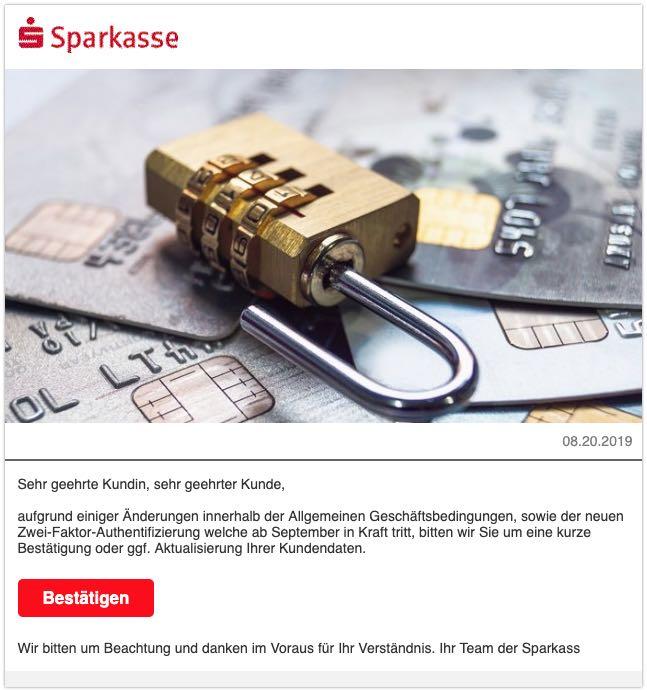 2019-08-21 Sparkasse Spam-Mail Neue Richtlinien