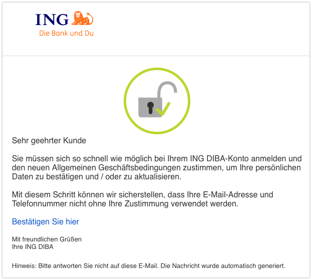 2019-08-23 ING Spam-Mail Wichtig- Aktualisieren Sie Ihre persönlichen Daten