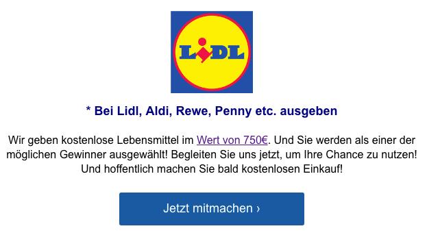 2019-08-23 Lidl Fake-Mail Zahlungsnummer 750 Euro Gutschein