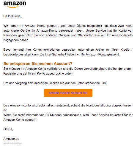 2019-08-26 Amazon Spam-Mail Wichtige Aktivitaeten