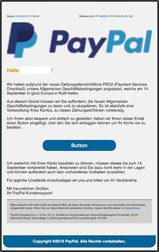 2019-08-26 PayPal Spam-Mail Der September ist nah Jetzt Konto vorbereiten
