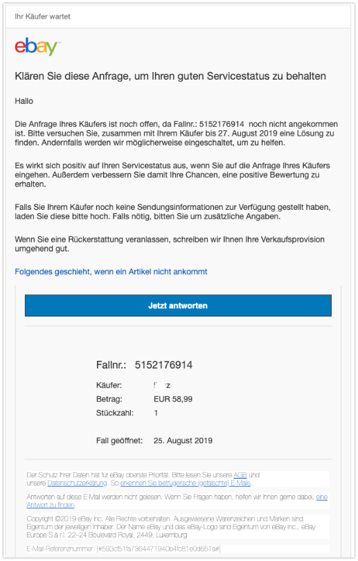 2019-08-27 eBay Spam-Mail Klären Sie diese Anfrage
