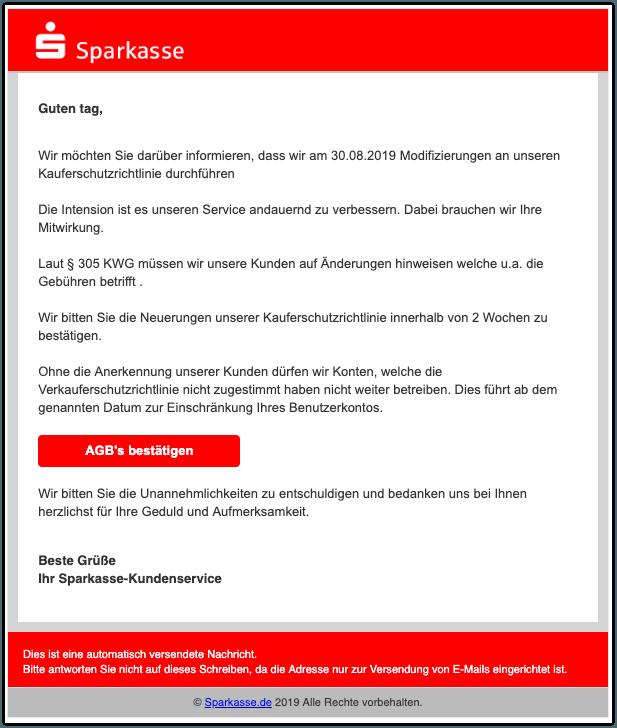 2019-08-28 Sparkasse Fake-Mail Information zum Kundenkonto