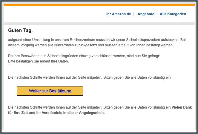 2019-08-29 Amazon Phishing-Mail Nachricht von Ihrem Kundenservices
