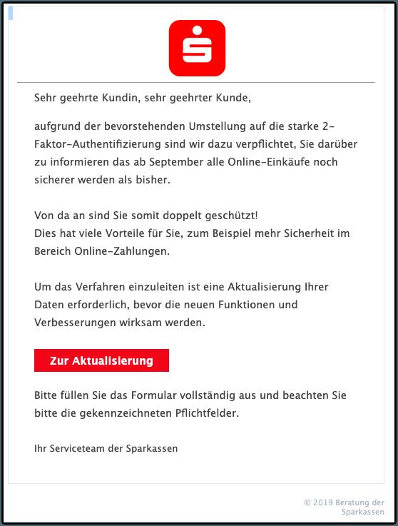 2019-08-29 Sparkasse Fake-Mail Ihre News zu den Neuerungen im September