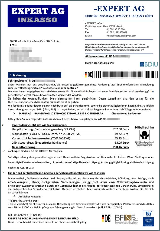 2019-08-30 1 Mahnung Expert AG Inkasso Fake