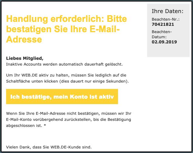 2019-09-03 web-de Phishing-Mail Handlung erforderlich