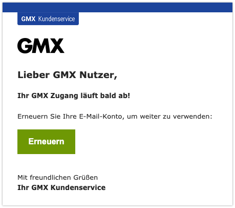 2019-09-04 GMX Spam-Mail Erneuern Sie Ihre E-Mail-Konto