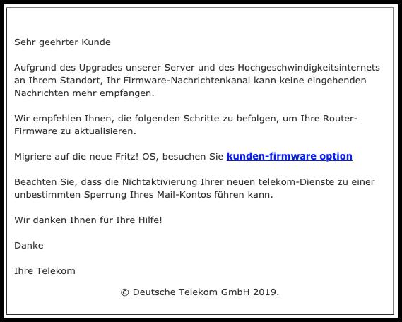 2019-09-05 Telekom Warnung- Firmware-Option reagiert nicht