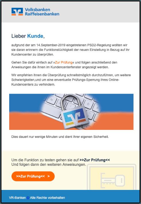 2019-09-18 Volksbank Spam-Mail Erinnerung-Kontencheck