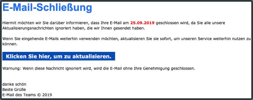 2019-09-23 Microsoft Phishing-Mail E-Mail-Beendigung läuft