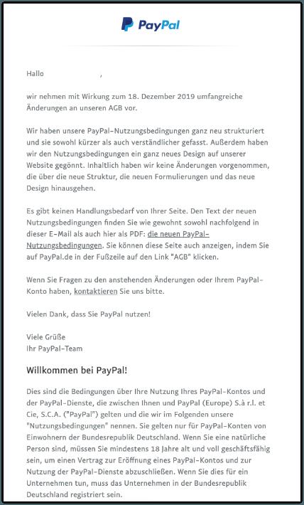 2019-10-14 PayPal-Mail Anstehende Änderungen der AGB von PayPal
