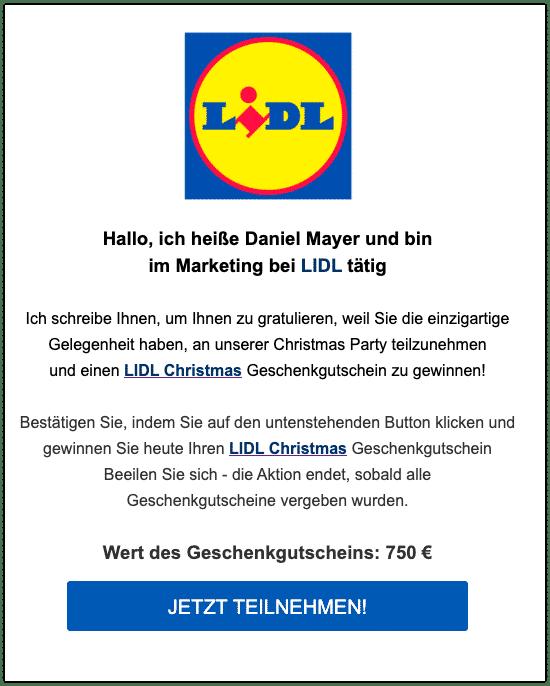 2019-12-30 Lidl Fake-Mail Neue Gelegenheit für Sie