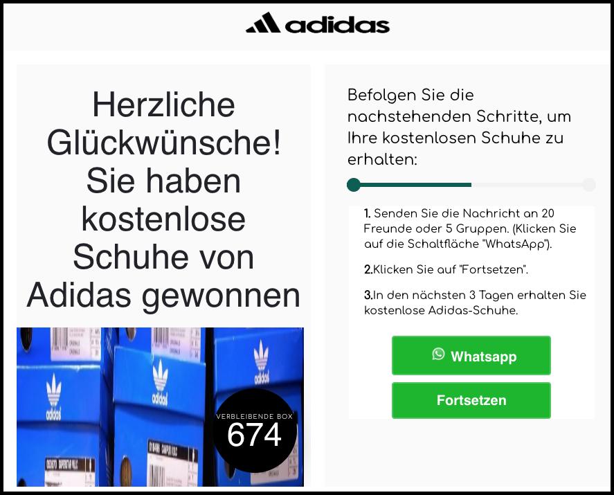 2020-03-04 Kettenbrief Adidas Schuhe teilen