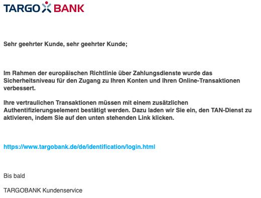 2020-04-21 Targobank Spam Fake-Mail Aktivierung erforderlich
