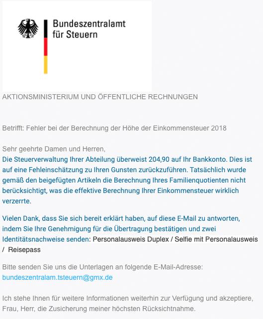 2020-04-29 Bundeszentralamt fuer Steuern E-Mail Fake