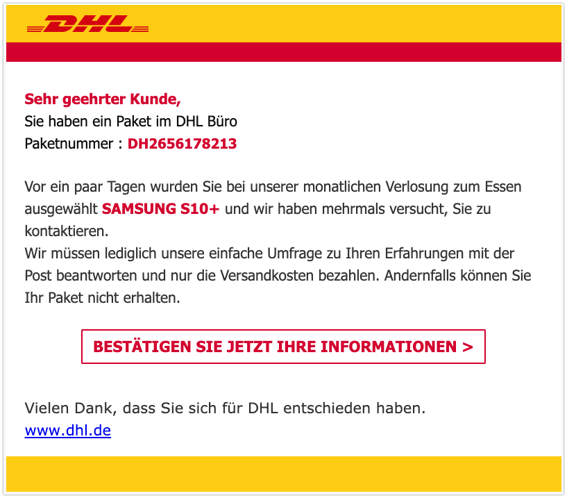 DHL Abofalle Mail