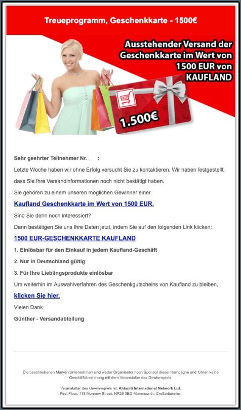 2019-09-09 Kaufland Geschenkkarte 1500 Euro Fake-Mail