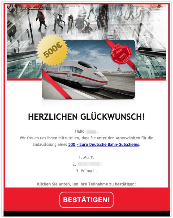 2019-09-13 E-Mail 500 Euro Gutschein Deutsche Bahn