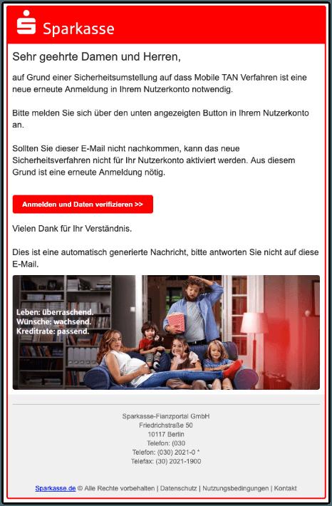2019-09-16 Sparkasse Spam-Mail Sicherheitumstellung
