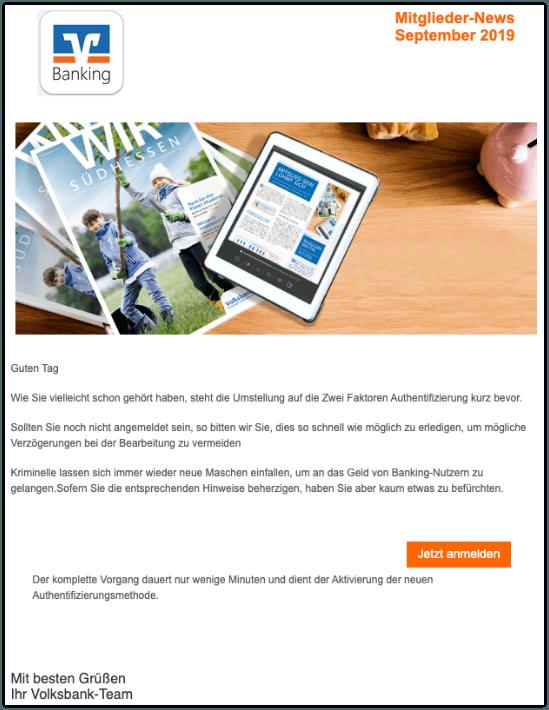 2019-09-20 Volksbank Banking Spam-Mail Ihre Volksbank