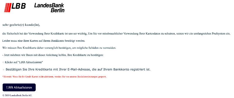 2019-09-22 Landesbank Berlin LBB Spam-Mail KREDITKARTENSERVICE