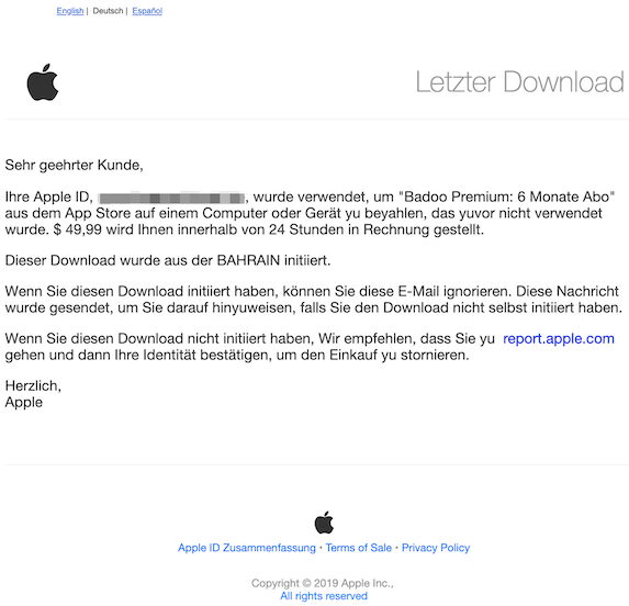 2019-09-23 Phishing Apple deutsch