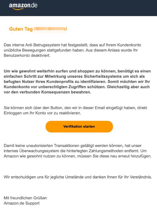 2019-09-28 Amazon Spam-Mail Neue Mitteilung