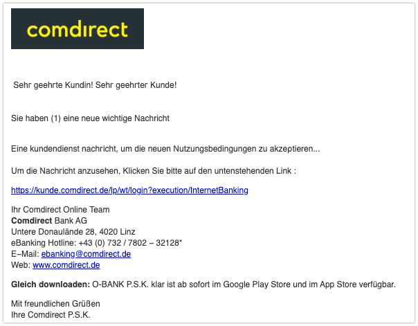 2019-09-30 Comdirect Bank Spam-Mail Login