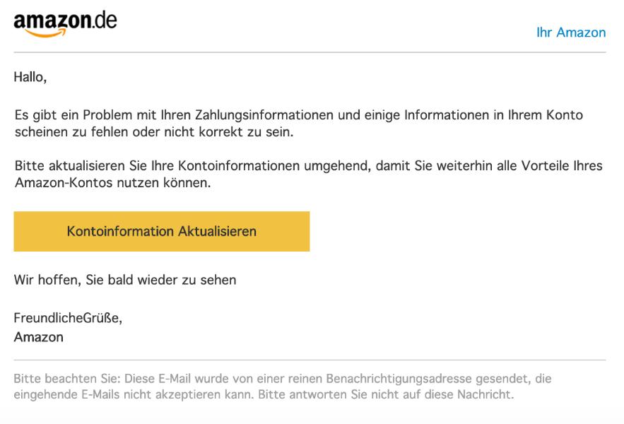 2019-10-03 Amazon Spam-Mail Wir brauchen Ihre Hilfe Ihr Konto ist begrenzt