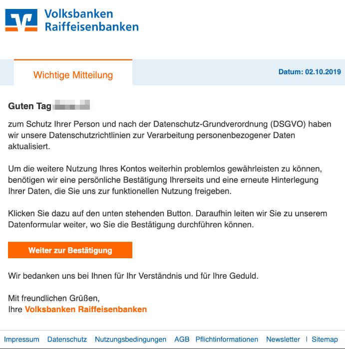 2019-10-03 Volksbank Spam-Mail Wichtige Mitteilung
