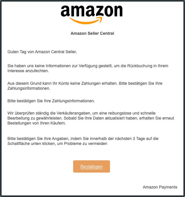 2019-10-16 Amazon Seller Spam-Mail Probleme beim Bezahlen von Amazon-Produkten und Diensten beheben