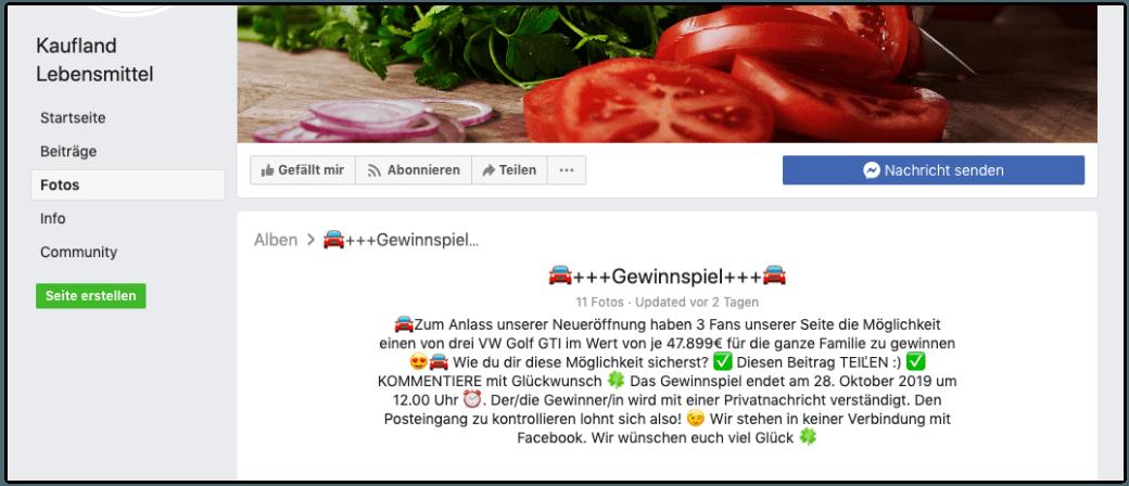 2019-10-17 Facebook Kaufland Lebensmittel Gewinnspiel Fake