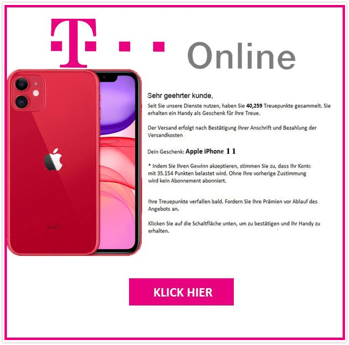 2019-11-15 T-Online Spam-Mail Treuepunkte gesammelt iPhone 11 bestellen