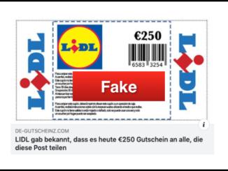 2019-11-20 Lidl Fake-Gutschein 250 Euro Facebook