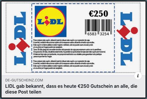 2019-11-20 Lidl Gutschein 250 Euro Facebook Fake