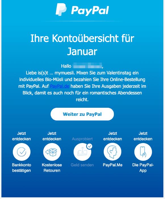 2020-02-05 PayPal-Mail PayPal-Kontouebersicht fur
