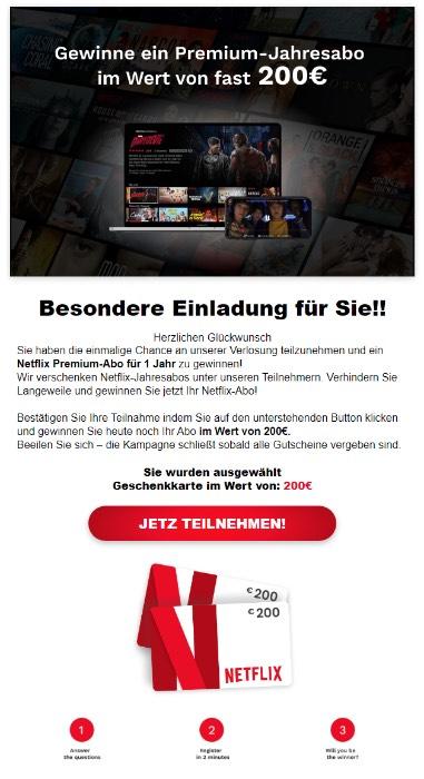 2020-04-09 Spam-Mail Fake Wir verschenken Netflix-Jahresabos unter unseren Teilnehmern