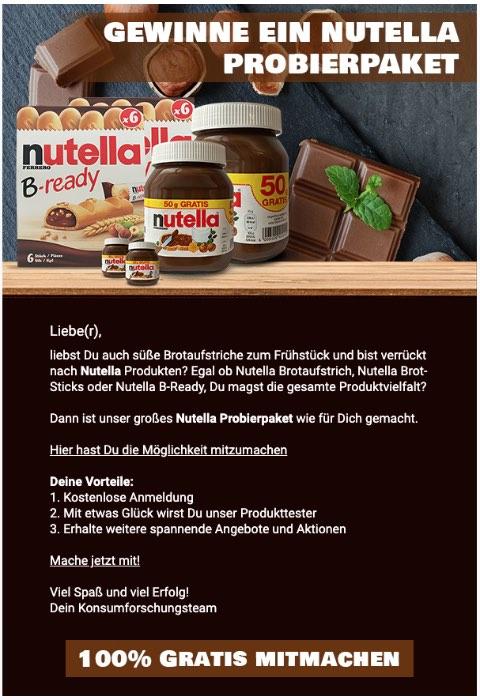 2020-07-22 Spam Mail Nutella Ein Nutella Probierpaket für dich