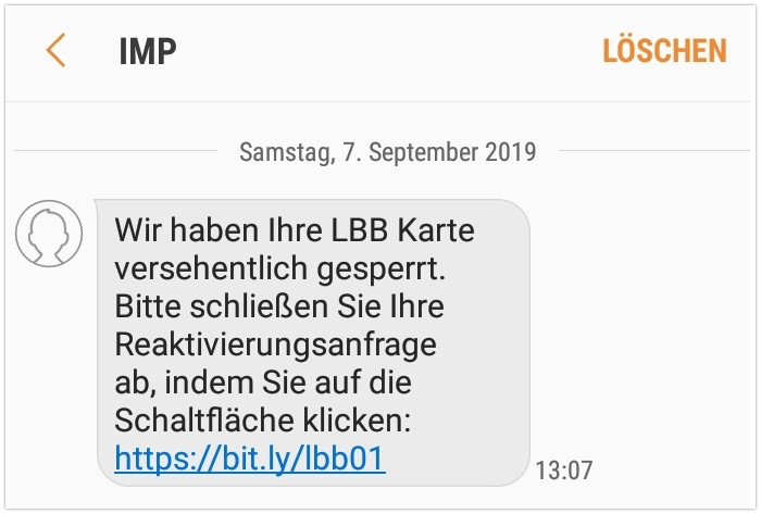Fake-SMS Spam Landesbank Berlin Phishing