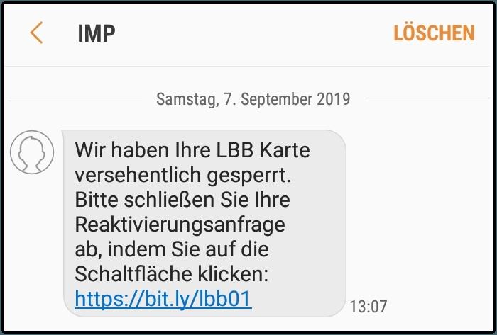 Fake-SMS Spam Landesbank Berlin Phishing
