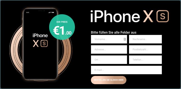 iPhone XS scheinbar fuer 1 Euro