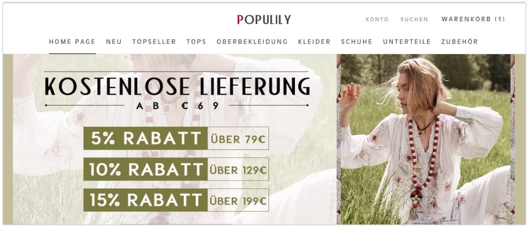 populily Damenmode Onlineshop
