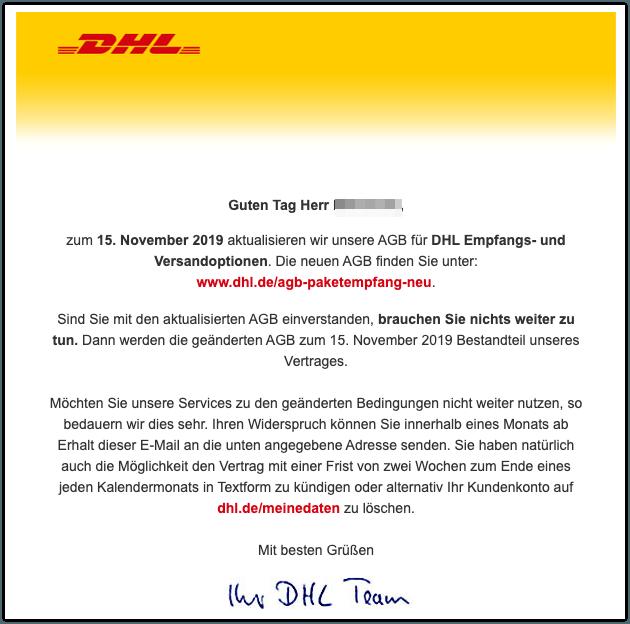 2019-10-01 Entwarnung E-Mail von DHL zu Neue AGB