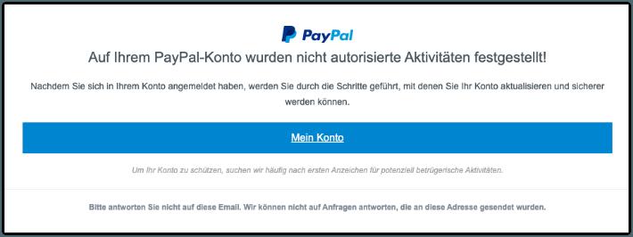 2019-10-02 PayPal Spam-Mail Auf Ihrem PayPal-Konto wurden nicht autorisierte Aktivitäten festgestellt