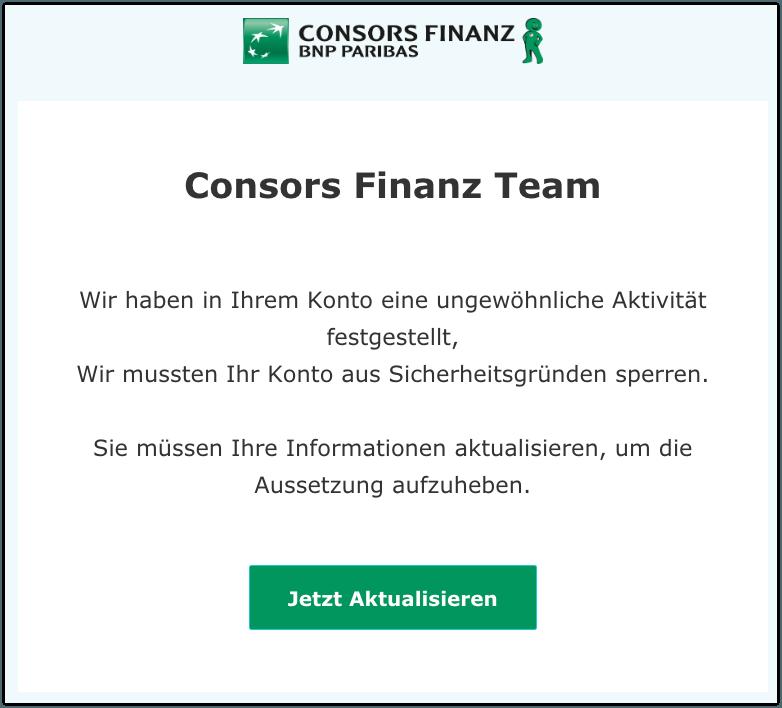 2019-10-05 Consors Finanz Spam-Mail Aktualisieren Sie Ihre Informationen