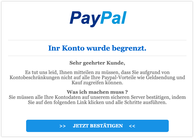 2019-10-07 PayPal Spam-Mail Kontostatus geändert