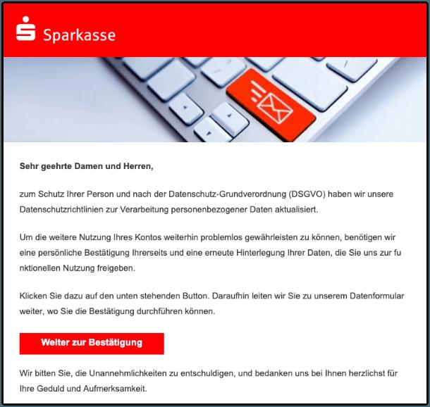 2019-10-07 Sparkasse Spam-Mail Mitteilung zu Ihrem Kundenkonto