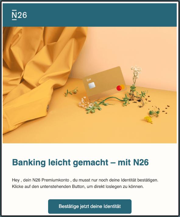 2019-10-09 N26 Bank Spam-Mail Ein To-do weniger- Schliesse deine N26 Verifizierung ab